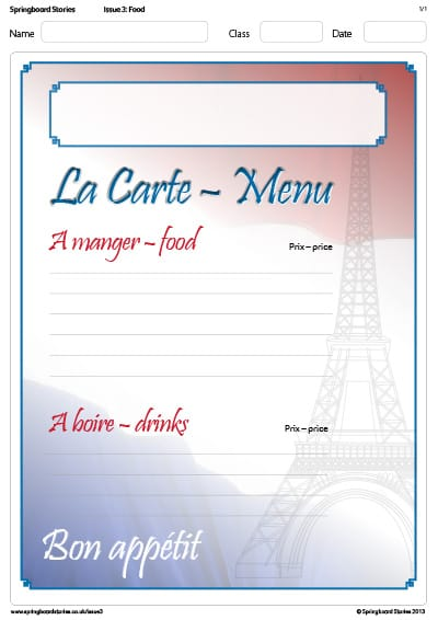 Springboard Stories  A La Carte Menu Template