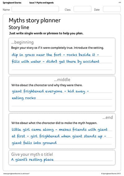 Primary myths story planner | Springboard Stories
