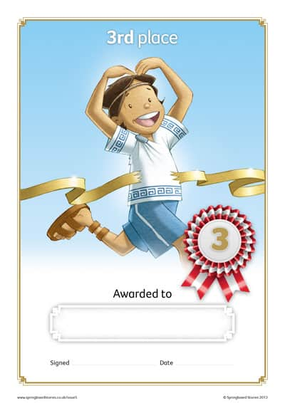 Springboard Stories  Sports Day Certificates