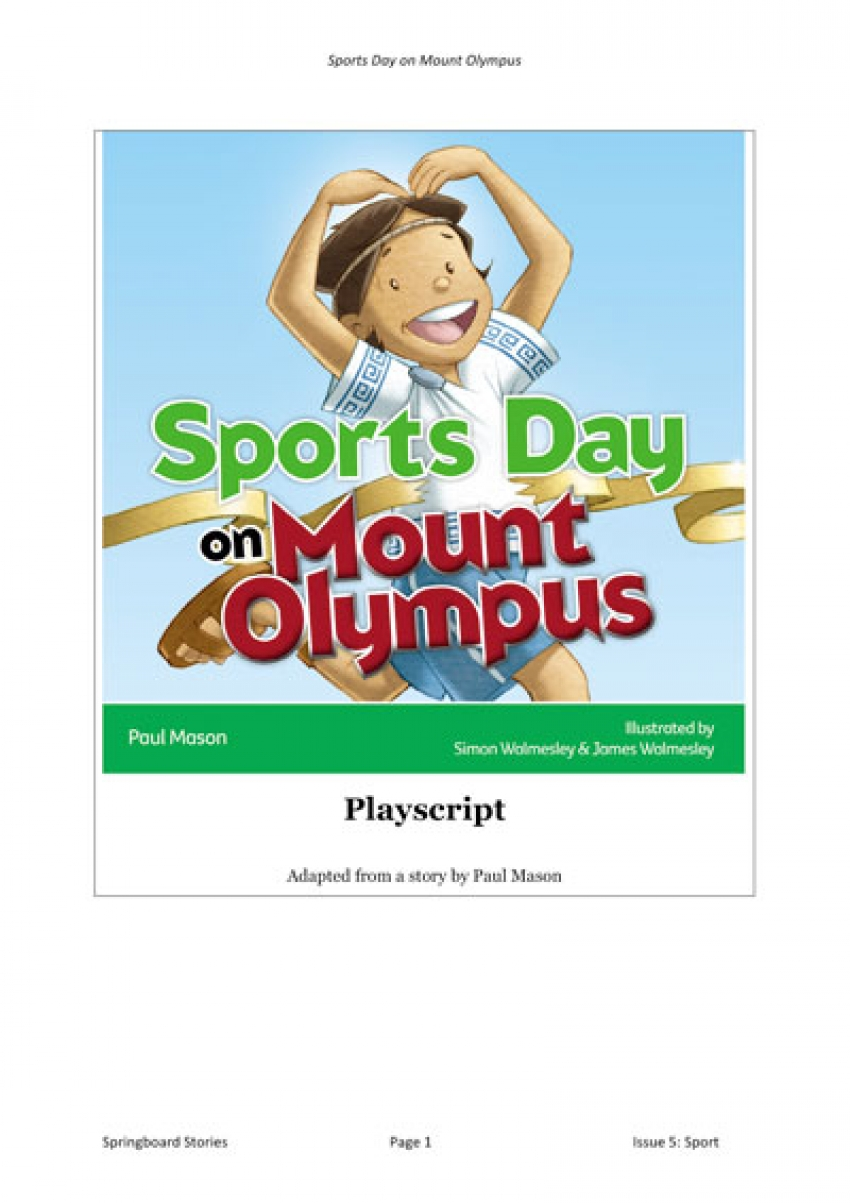 Sports Day on Mount Olympus playscript