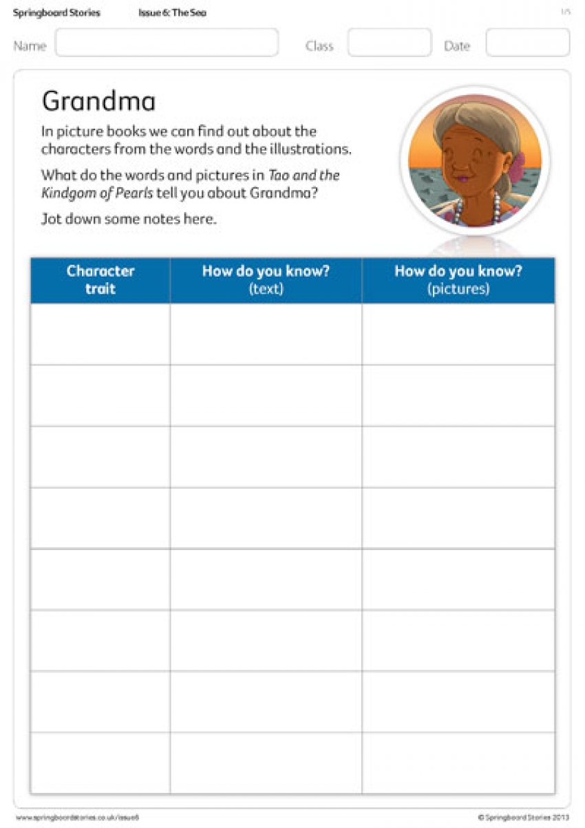 Character reflections primary activity sheet