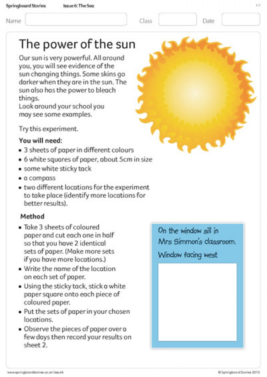 The power of the sun primary science resource sheet