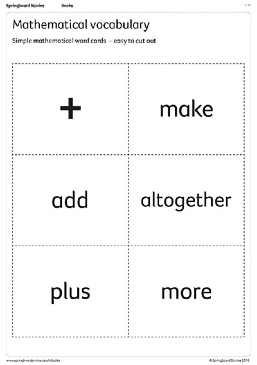 Mathematical vocabulary primary resource