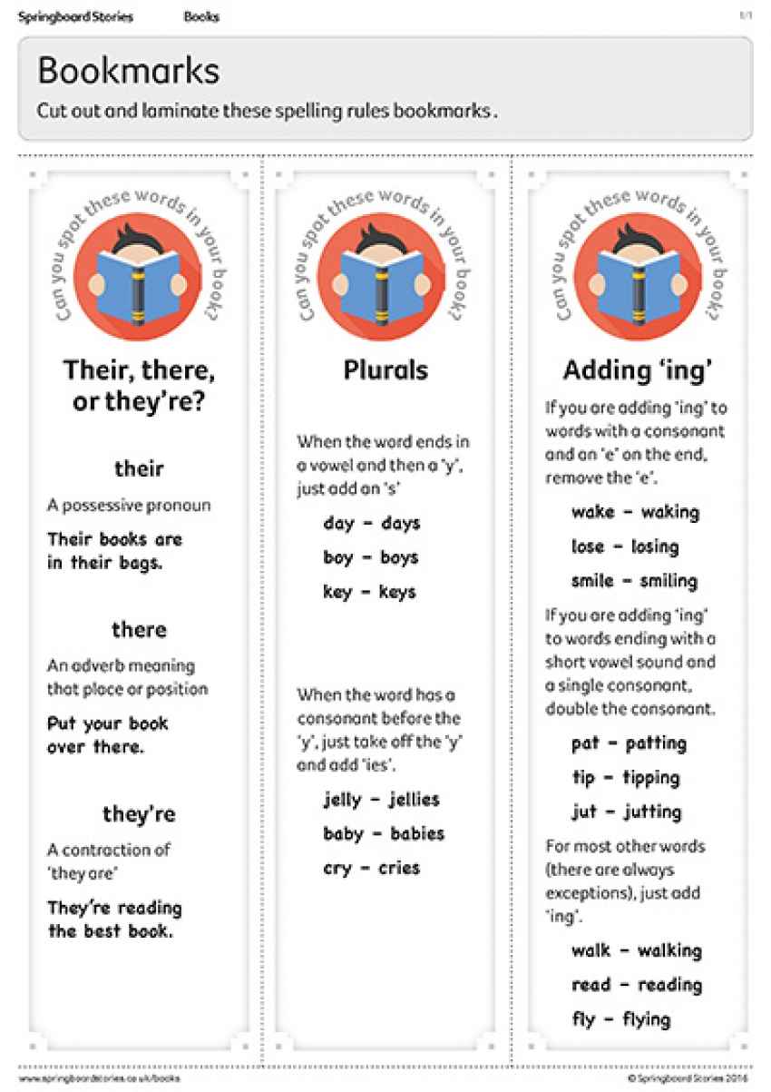 Spelling rules bookmarks