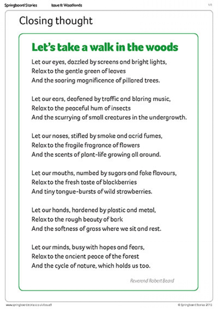 Woodland assembly – closing thought