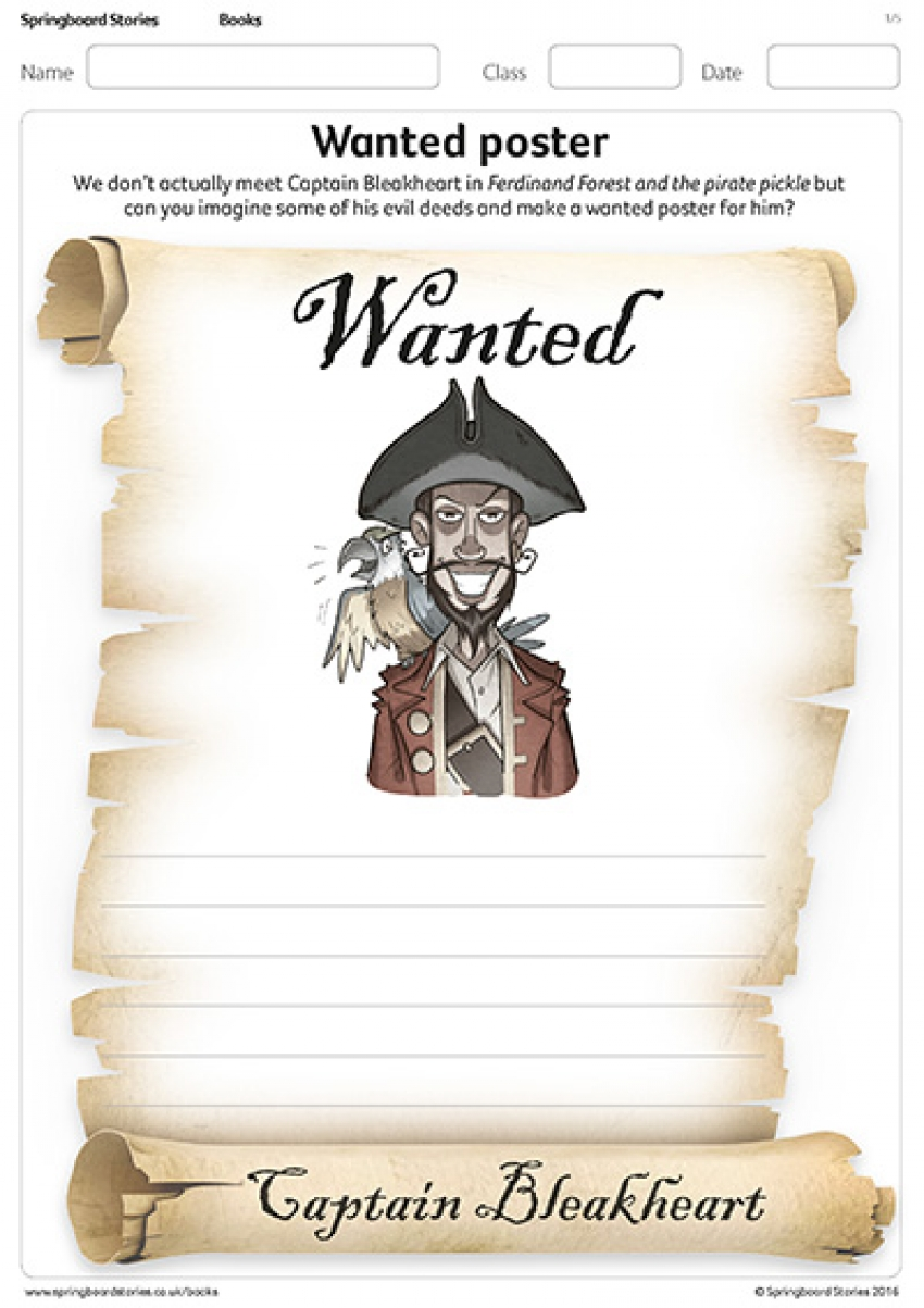Wanted posters resource for Ferdinand Forest and the pirate pickle primary resource